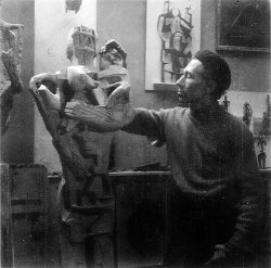 Peter King in his studio, c1956 - image