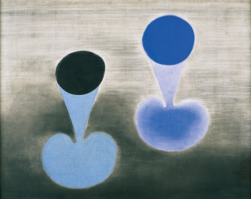 Two Blue Forms on Grey - Details
