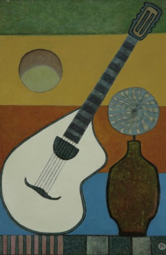 Guitar, Vase and Moon - Details