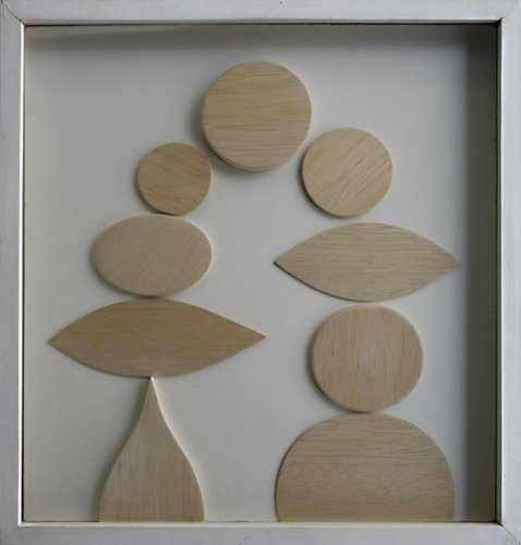 Construction with Nine Forms in Wood on White Ground - Details