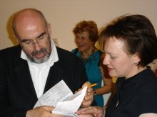 Private view… Dr David Alan Mellor with Dr Sarah Wilson of the Courtauld Institute