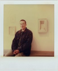 Mateusz Fahrenholz at his exhibition <br>at England & Co in 1995 - image