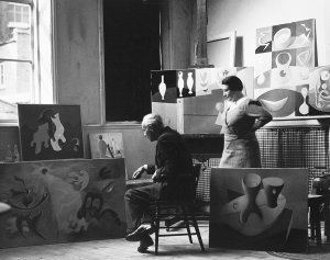 Paule Vézelay and a friend in a <br>temporary London studio, 1934. - image