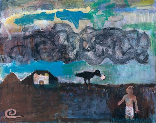Elijah Fed by a Raven in the Desert - Details
