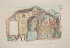 Untitled (woman and house)