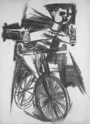 Klaus Friedeberger: Study for Bicycle Warrior (1960). British Museum collection.