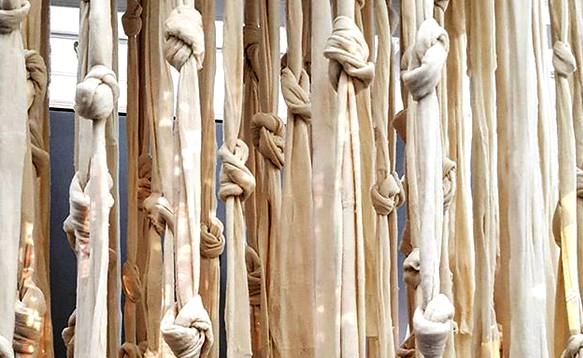 Detail of Disappeared Quipu by Cecila Vicuña at Brooklyn Museum.