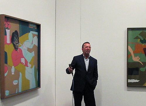 Eric Clapton opening Philippe Mora's exhibition at England & Co