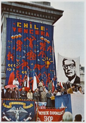 Above: Chile Vencera banner by John Dugger, 1974. Below:  exhibition poster by John Dugger and David Medalla, 1971.
