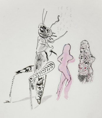 Grasshopper Attempting to Negotiate with Prostitutes (detail), 2013