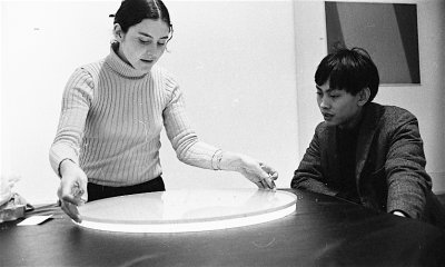 Liliane Lijn and David Medalla at avant-garde gallery, Signals in 1964.