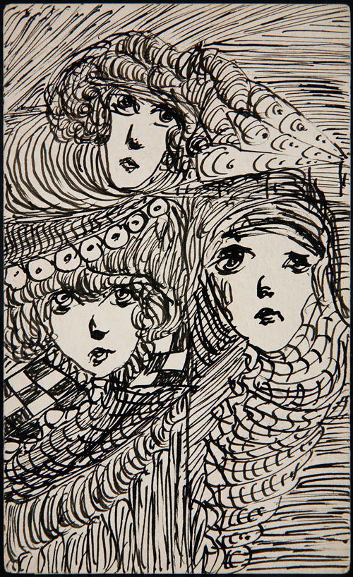 Madge Gill drawing at the Outsider Art Fair, Paris. England & Co gallery.