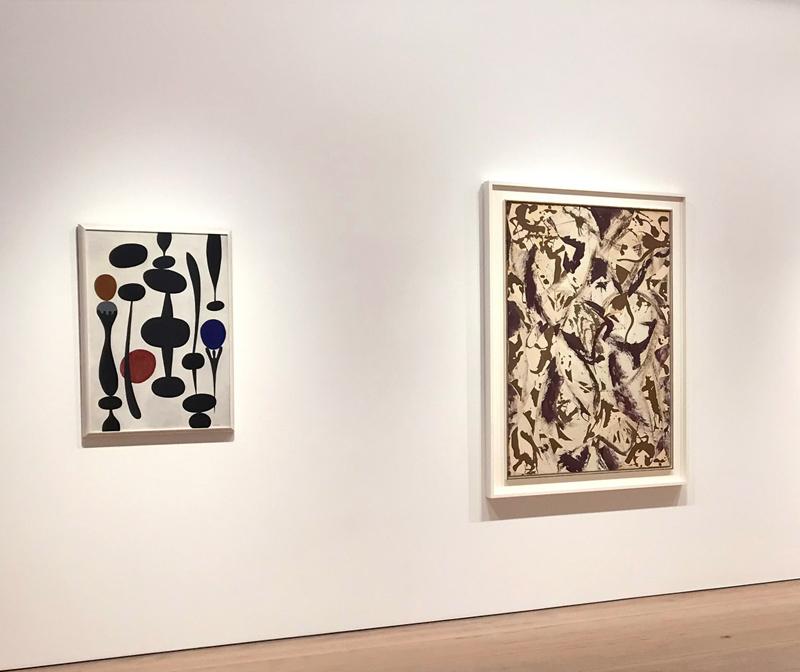Works by Paule Vézelay (left) and Lee Krasner in Surface Work.