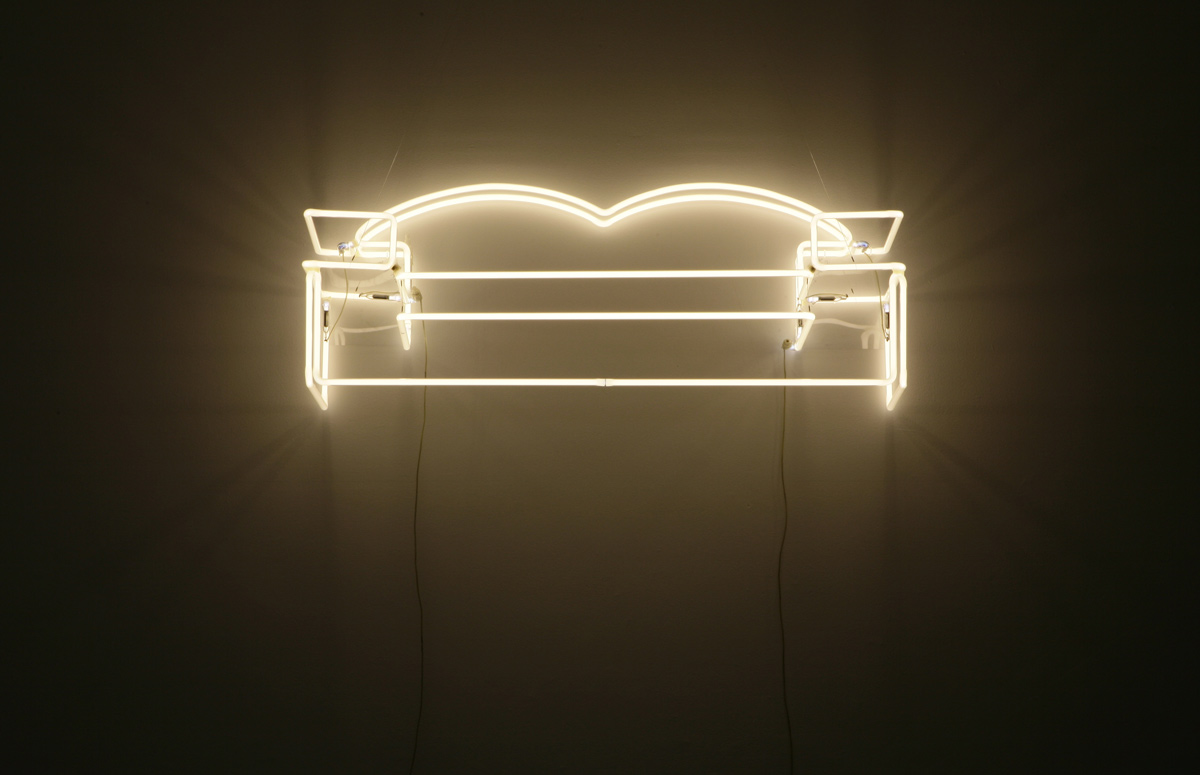 Couch (2003), neon by Tina Keane. England & Co gallery, London.