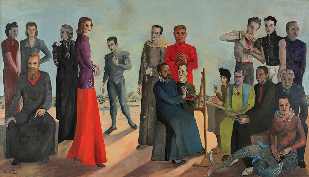 SIR FRANCIS ROSE: L'Ensemble (1938). Oil on canvas, 79 x 138 inches. From left: Madame Wellington Koo, Emmy Sommermann, Russell Hitchcock, Natalie Barney, Diana Varé, Serge Lifar, George Maratier, Francis Rose, Christian Bérard, Pavel Tchelitchev, Alice B.Toklas, Gertrude Stein, Jean Cocteau, Louis Bromfield, Tyrone Power, Virgil Thompson, Francis Picabia, Billy Mayor. Exhibited in 1939 at Le Petit Palais Musée des Beaux Arts, Paris.